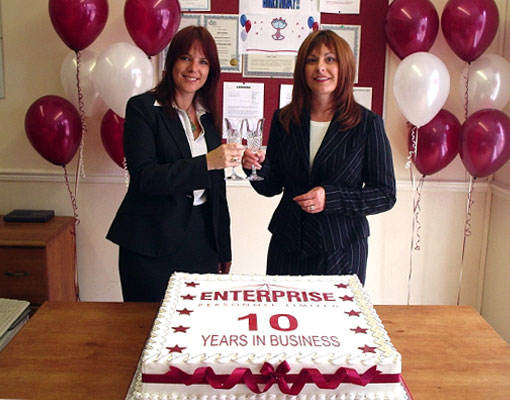 Sonja and Julie celebrate the first 10 years in business with a huge cake commissioned for clients and applicants – July 2006'