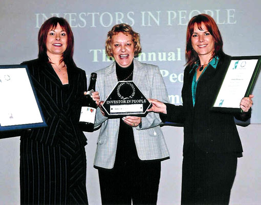 In August 2005 Sonja Lundie and Julie Hutchins with Jeanette Bains (Business Link) achieve Investors In People Accreditation and receive their award.