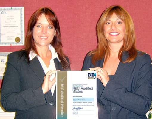 In 2006 Enterprise Personnel achieved REC Audited Accreditation – Pictured Sonja Lundie M.D. and Julie Hutchins F.D. with their certificate.